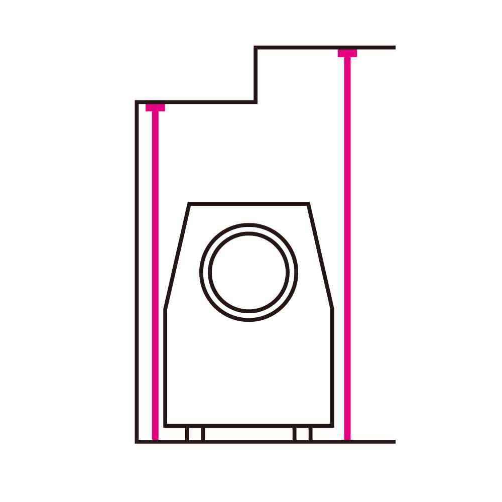 天井の梁や段差が避けられるノルディックランドリーラック 棚2段 左右の支柱を高さ調節すれば、梁や下がり天井にも対応します。