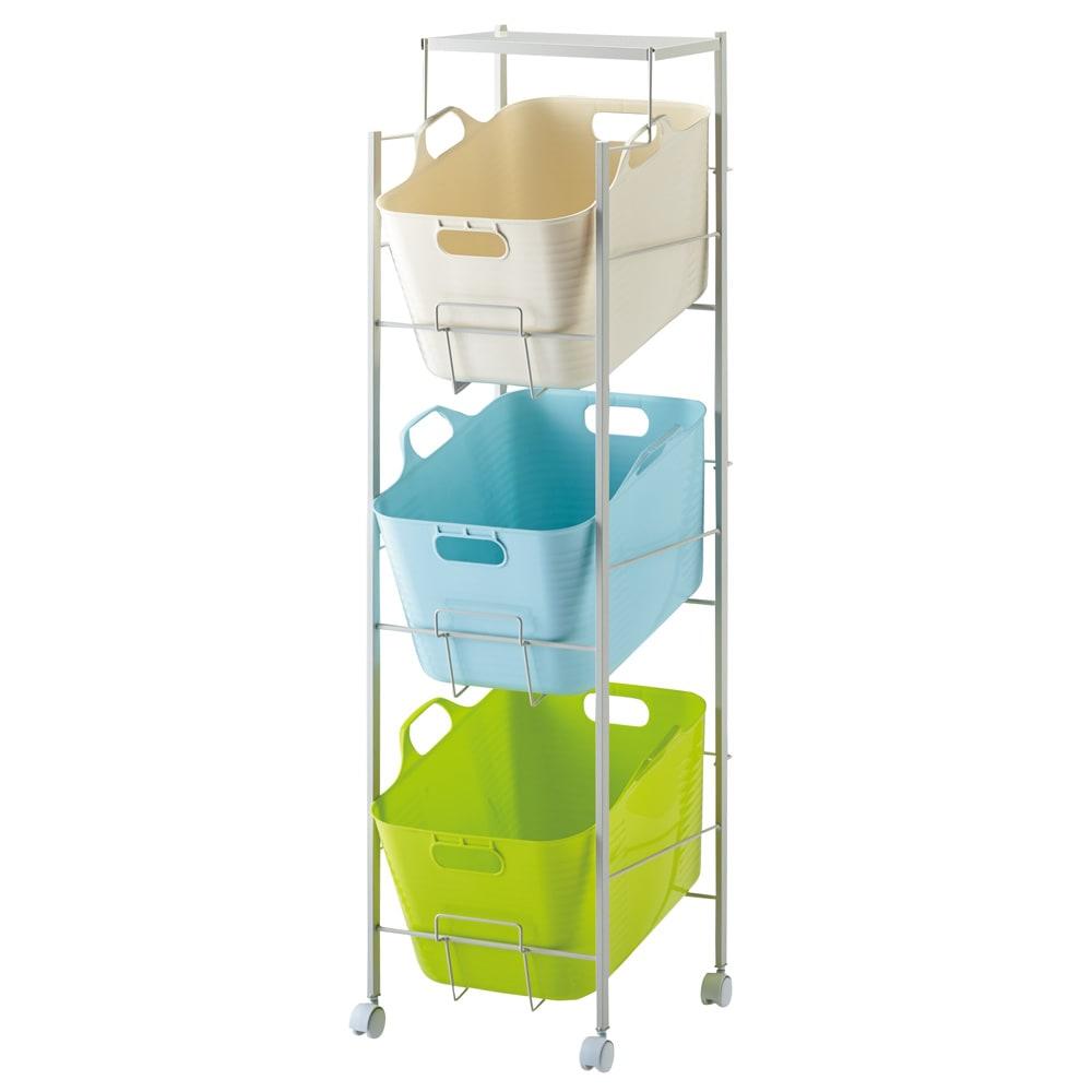 洗濯物の仕分けに便利 大きなバスケットのランドリーワゴン 3段 (ア)マルチ
