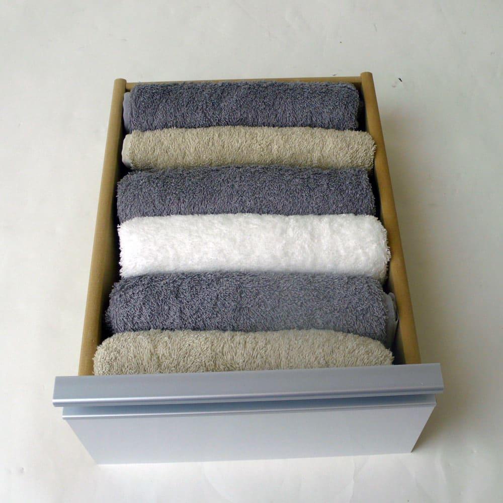 豊富なサイズから選べる 光沢仕上げすき間収納 幅25cm・奥行30cm 引き出しはタオルの収納に便利。