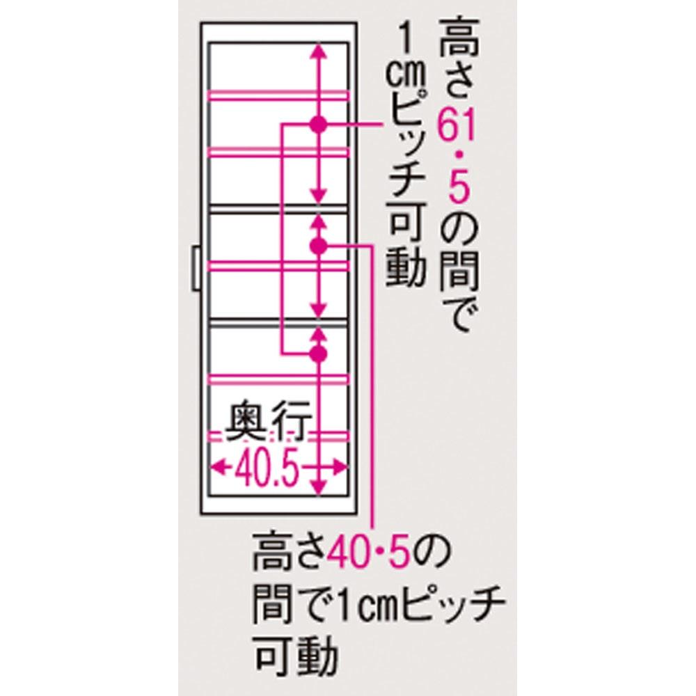 ボックス付きリバーシブル すき間収納庫 幅17奥行47cm 有効内寸図(単位:cm) 幅9.5(最下段幅8.5)cm