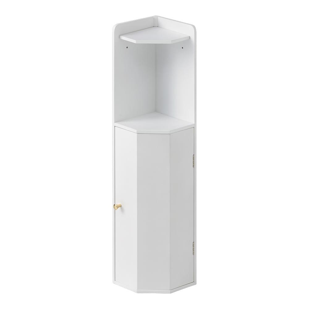 こだわりトイレの木製コーナーラック ロー 高さ75cm (ア)ホワイト トイレの清潔な空間に調和するホワイトは、クリーンなイメージを引き立てます。