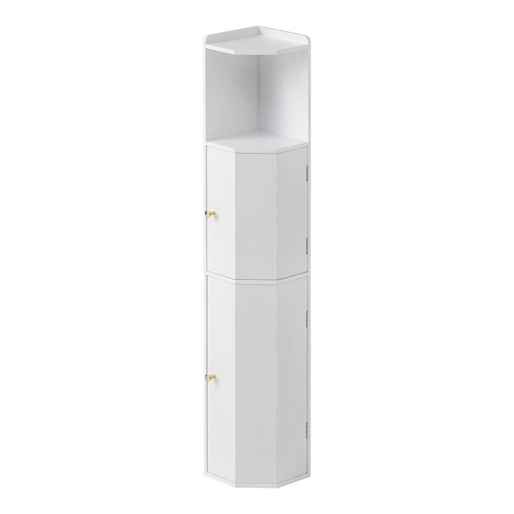 こだわりトイレの木製コーナーラック ハイ 高さ100cm (ア)ホワイト トイレの清潔な空間に調和するホワイトは、クリーンなイメージを引き立てます。