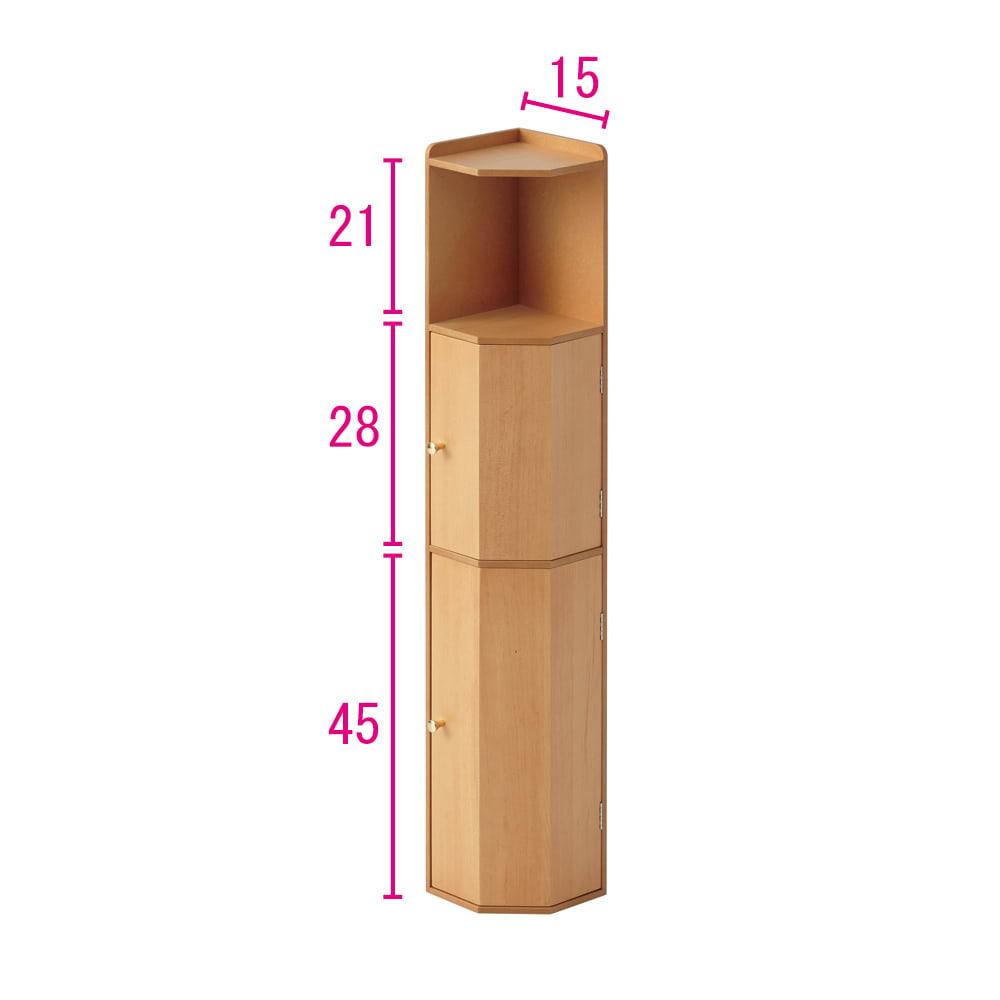 こだわりトイレの木製コーナーラック ハイ 高さ100cm (イ)ナチュラル ※赤文字は内寸(単位:cm)