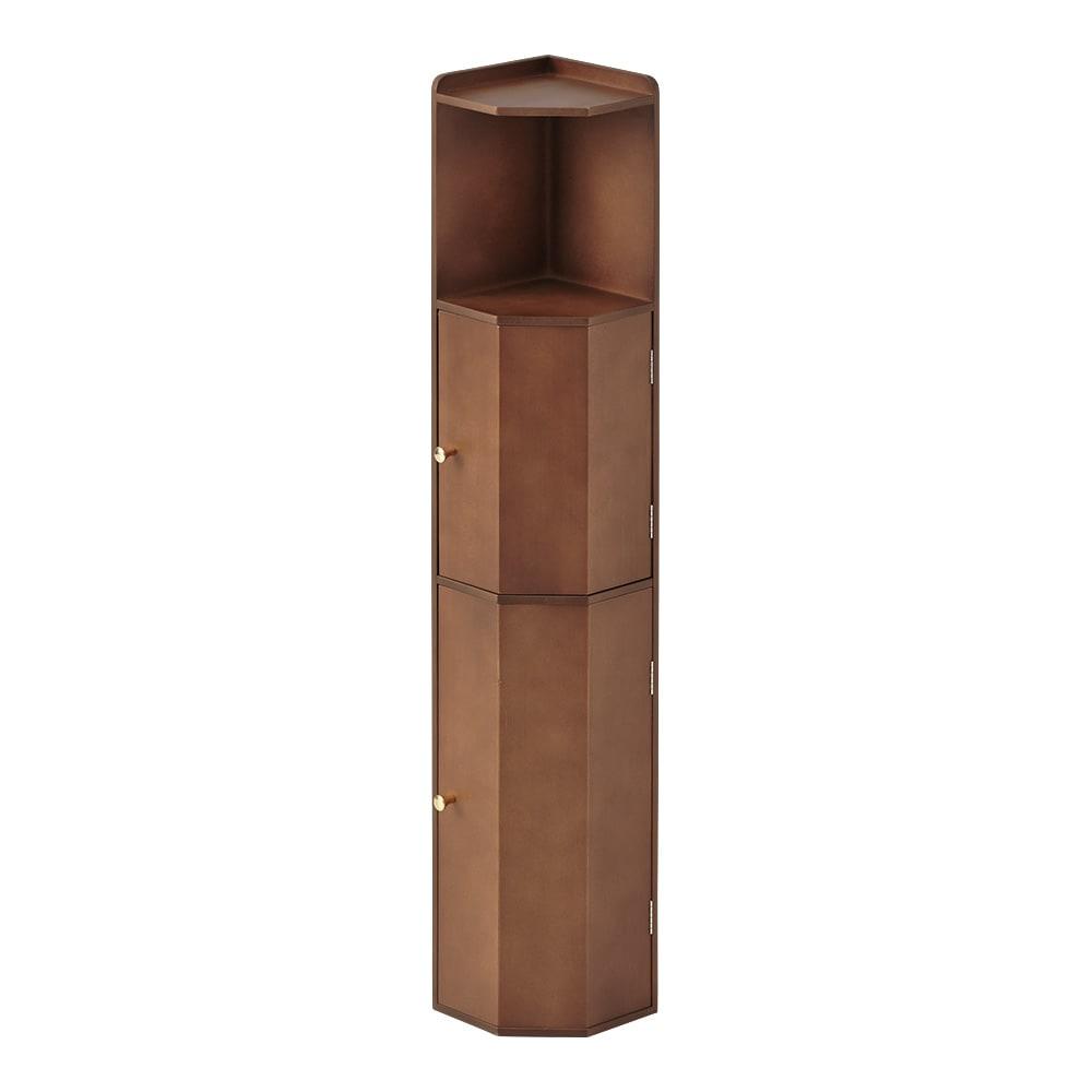 こだわりトイレの木製コーナーラック ハイ 高さ100cm (ウ)ダークブラウン