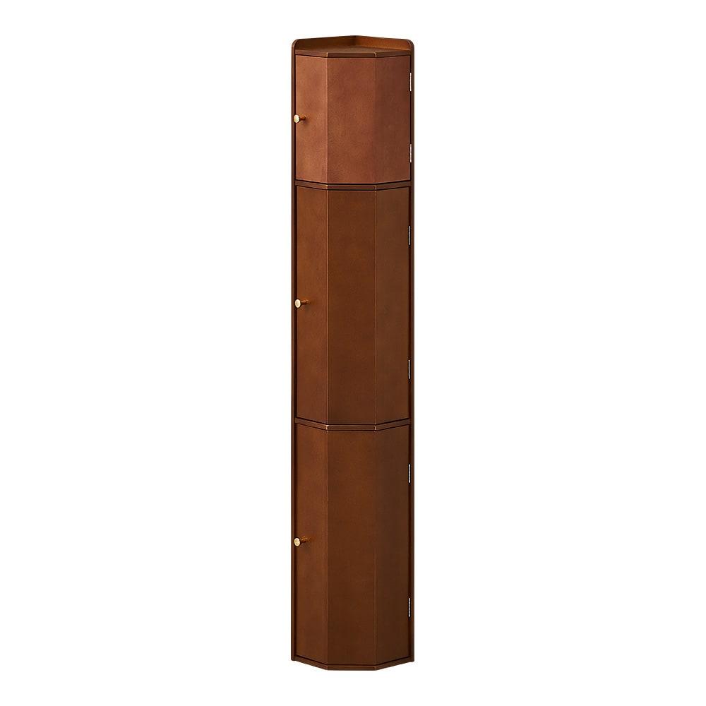 トイレコーナーラック 上部ゴミ箱付き 高さ120cm (ウ)ダークブラウン