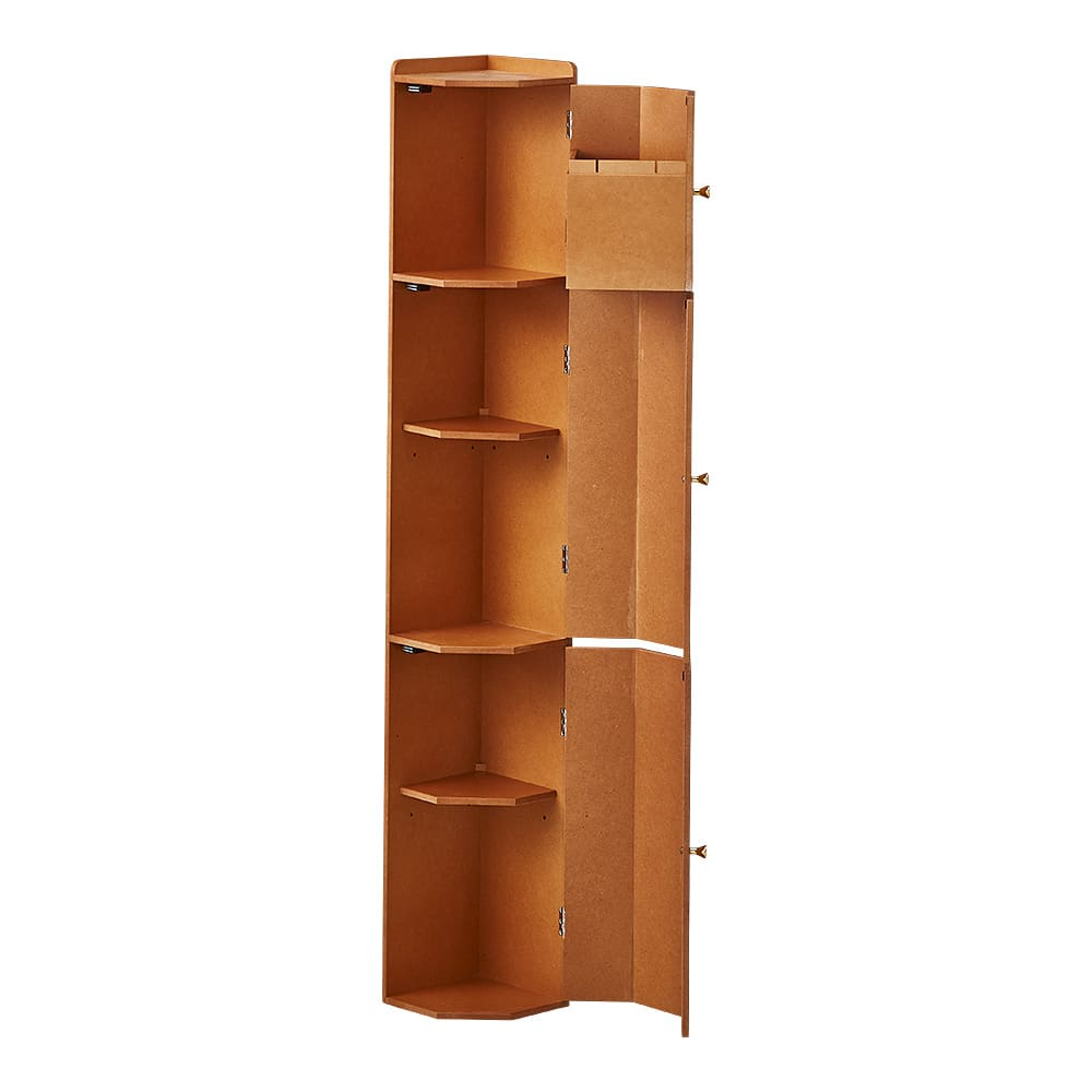 トイレコーナーラック 上部ゴミ箱付き 高さ120cm (イ)ナチュラル