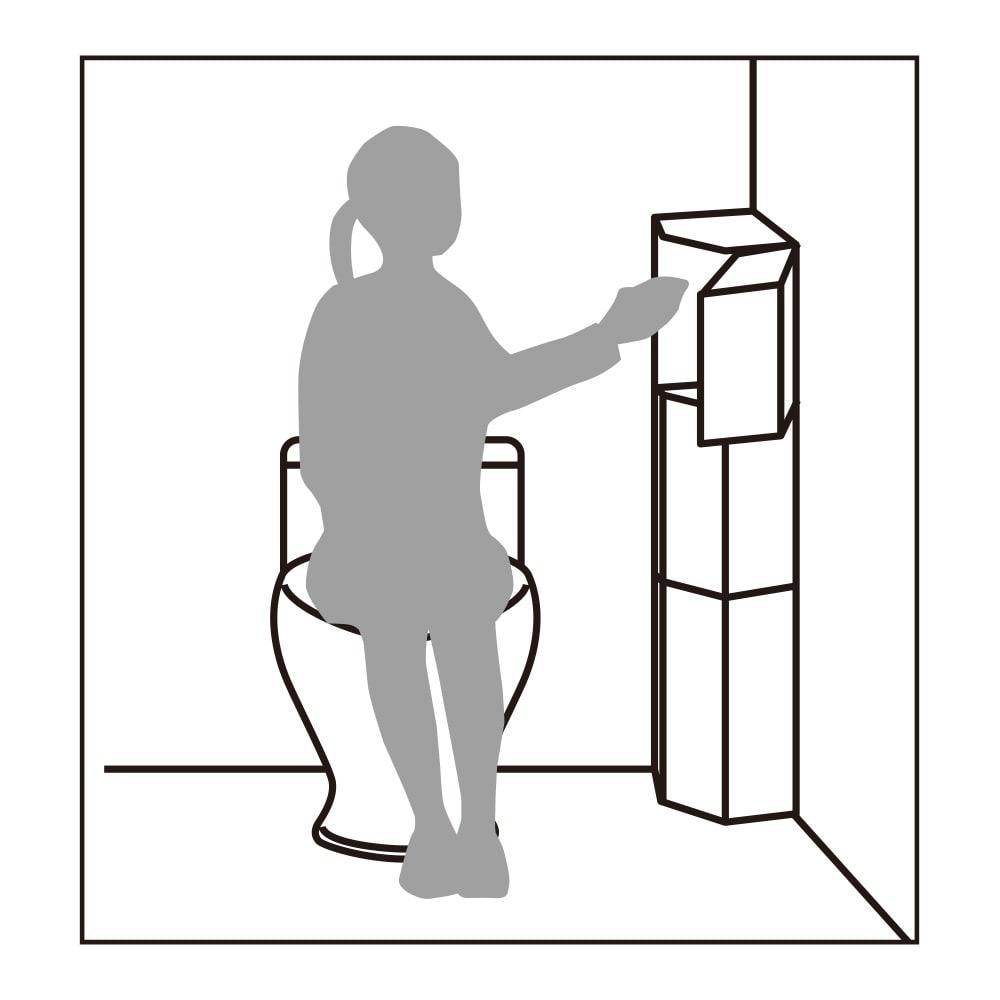 トイレコーナーラック 上部ゴミ箱付き 高さ120cm 最上段ならラクな姿勢でゴミが捨てられます。