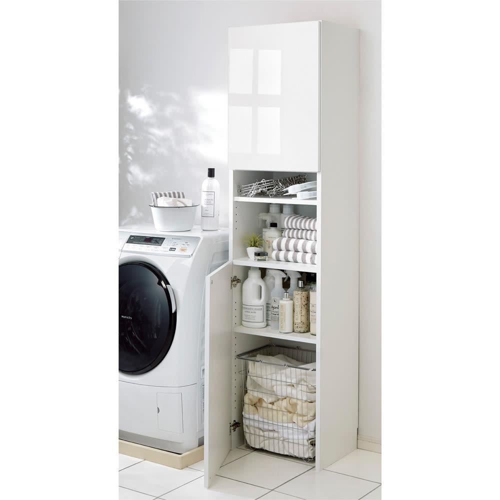家具 収納 トイレ収納 洗面所収納 組立不要 出し入れしやすい(自由に使える)光沢仕上げ快適収納庫 幅30奥行35cm 570701