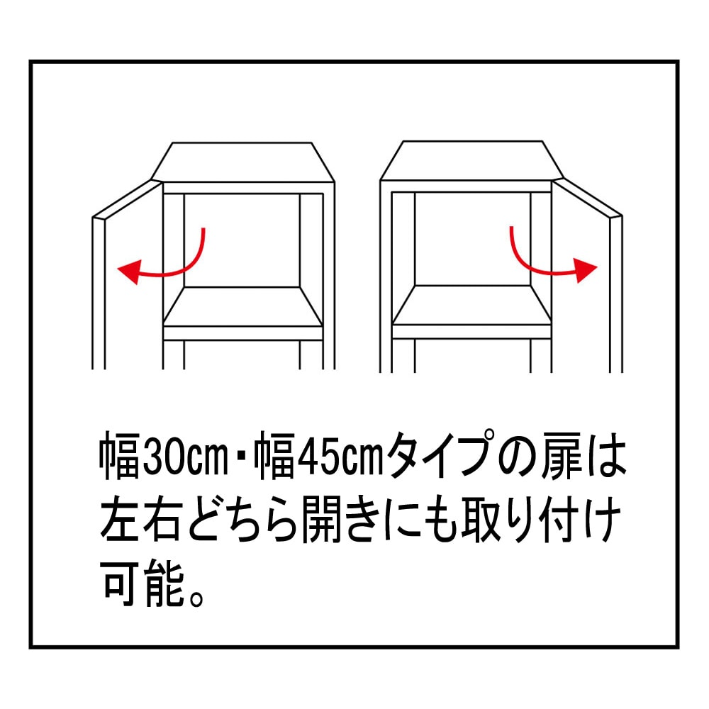 組立不要 出し入れしやすい(自由に使える)光沢仕上げ快適収納庫 幅45奥行45cm 幅30cm、幅45cmタイプの扉は左右どちら開きにも取り付けが可能です。
