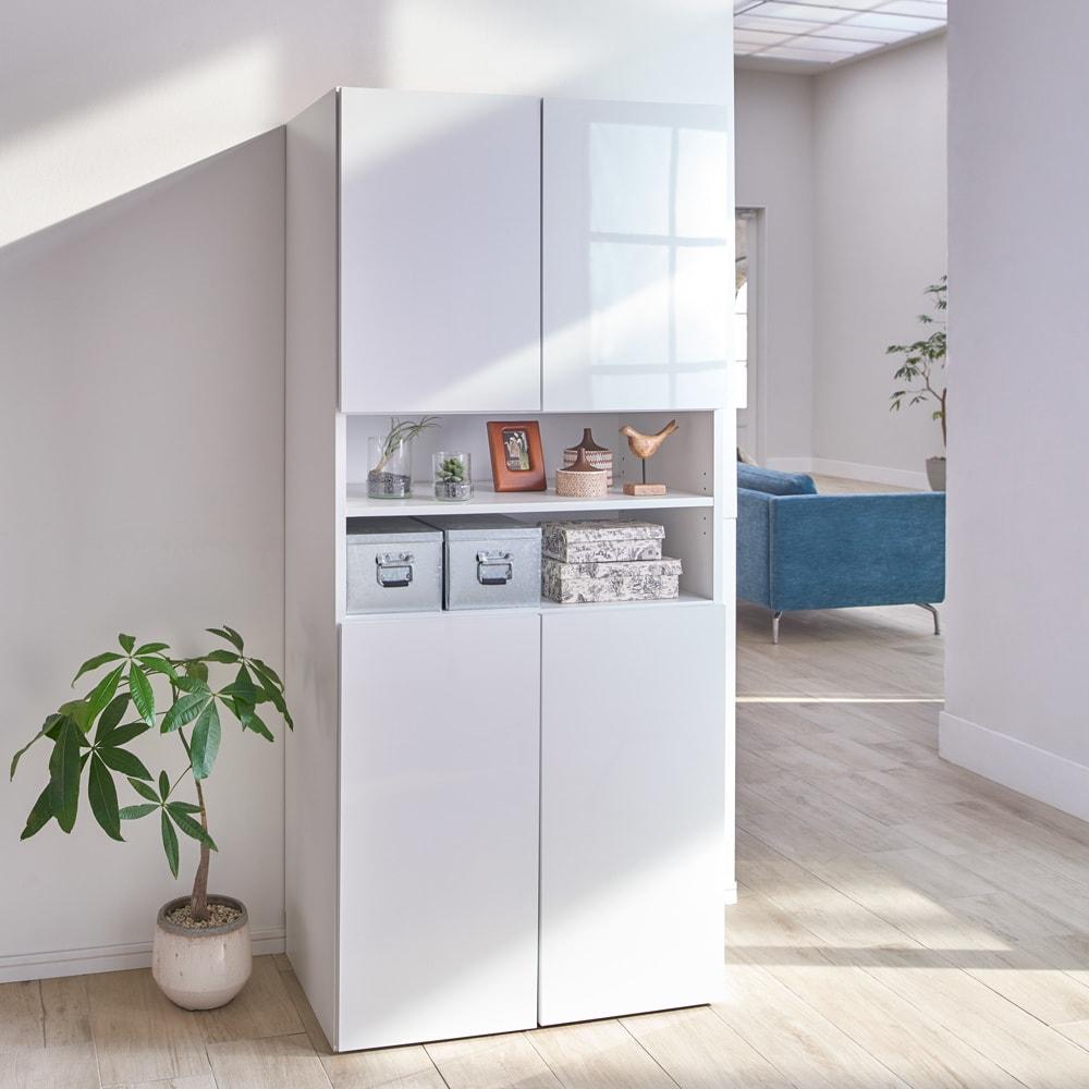 組立不要 出し入れしやすい(自由に使える)光沢仕上げ快適収納庫 幅80奥行45cm 扉を閉めればすっきり。