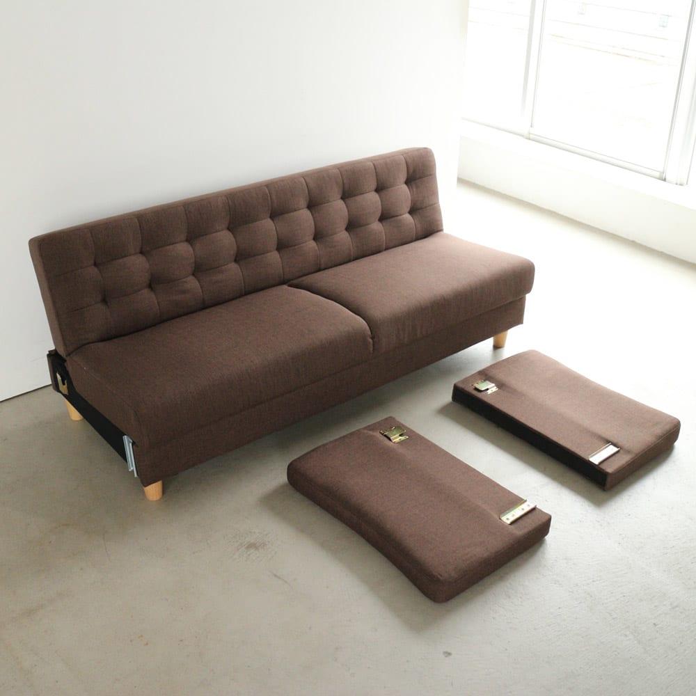 デザインにもこだわったソファベッド 幅196cm奥行70cm 搬入口が少々狭くても、運び込みができます(念のため、設置場所までの搬入経路はご確認ください)