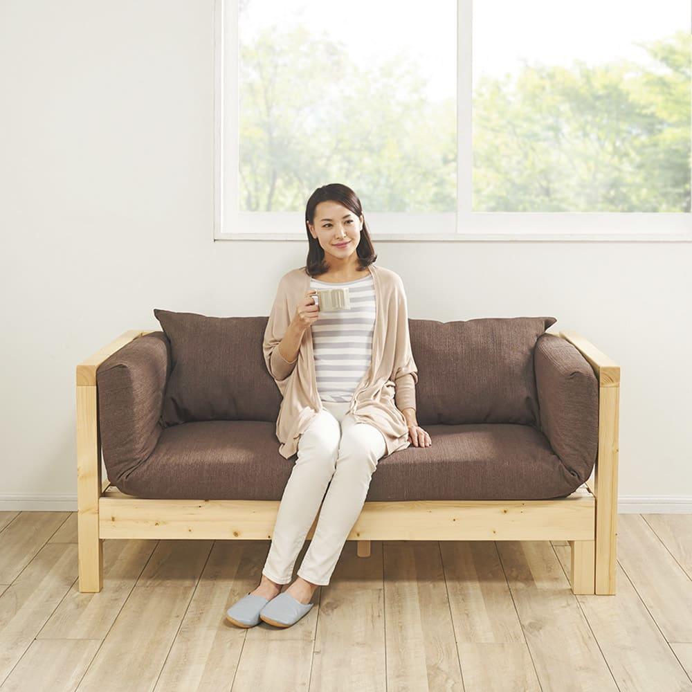 横伸縮ソファベッド フレームの伸ばし方で3段階のくつろぎスタイル【幅152cm】(ア)ブラウン
