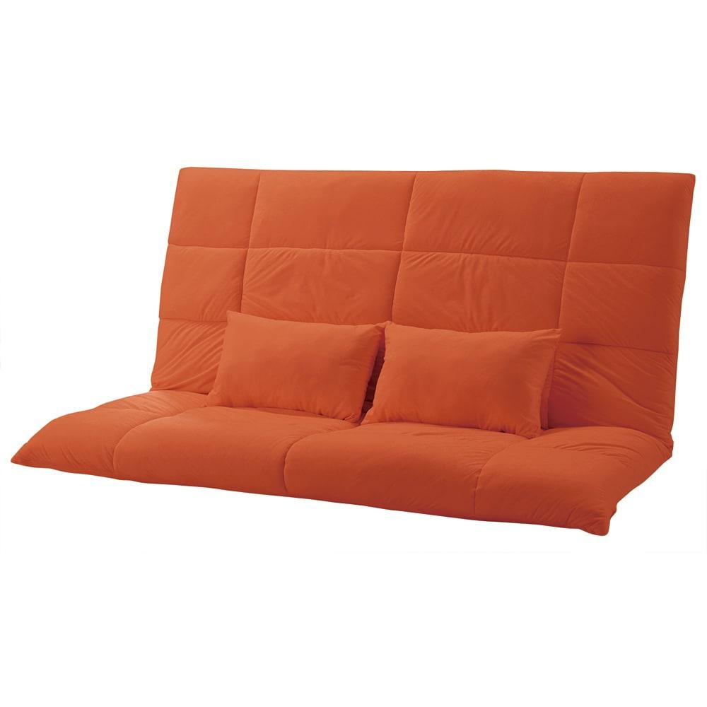 お好みスタイルが自在に!洗えるカバーリング マルチリクライニングソファ スーパーハイバックソファ (エ)オレンジ