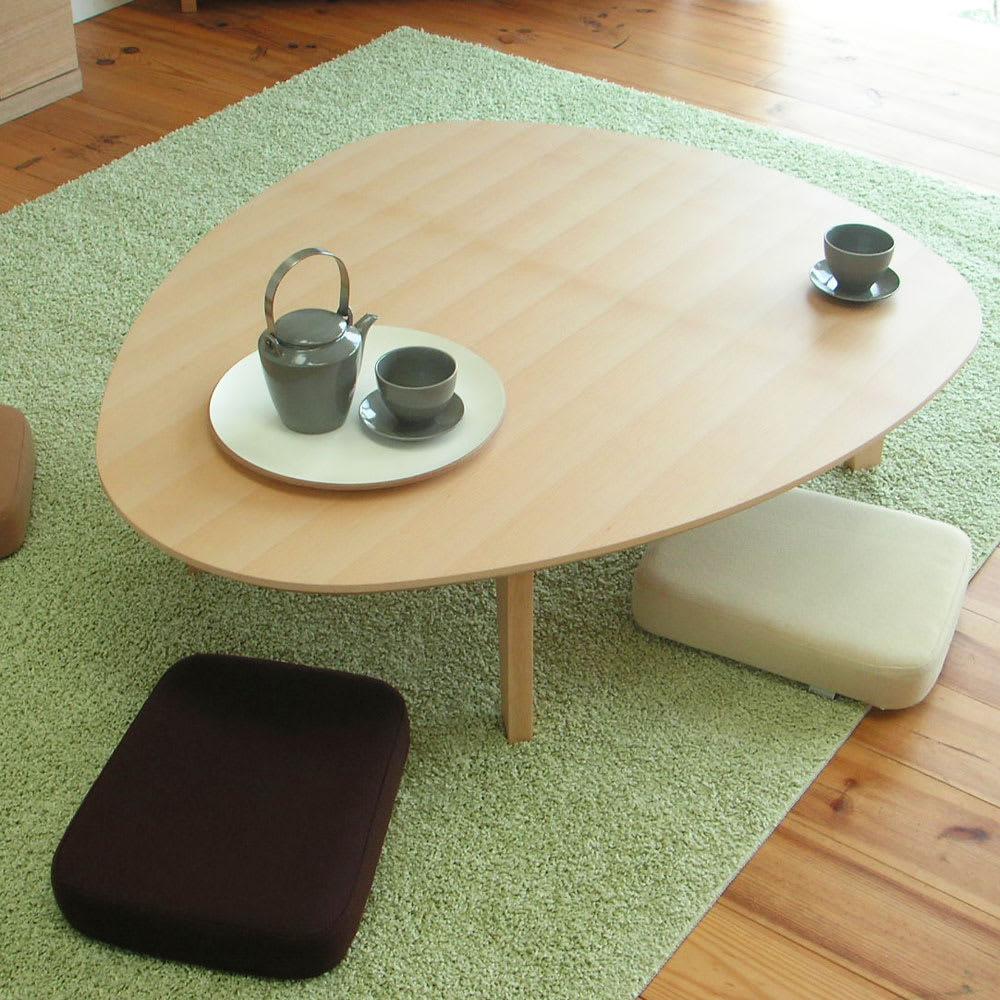 折れ脚フロアテーブルエッグ 幅120cm ビーチ天然木の美しい仕上げ。ナチュラル色