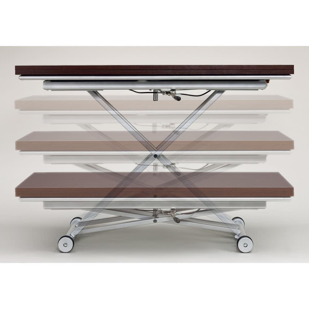 伸長式ガス圧昇降テーブル 幅100(天板90)cm 天板下のレバーで無段階リフトアップ式。 天板高さ33cm~74cm迄無段階調節が可能です。