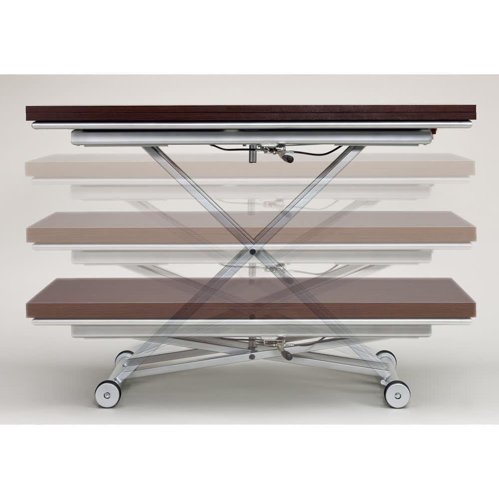 伸長式ガス圧昇降テーブル 幅120(天板110)cm 天板下のレバーで無段階リフトアップ式。 天板高さ27cm~75cm迄無段階調節が可能です。