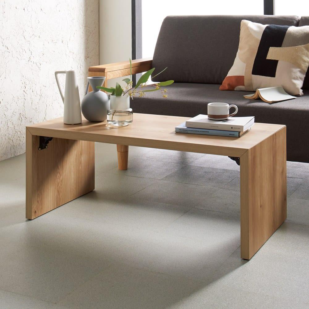 折りたたみできるスマートスタイルテーブル 89×44cm シャープに仕上げたデザインが高級感漂う折りたたみテーブル コーディネート例(ウ)ナチュラル(木目)