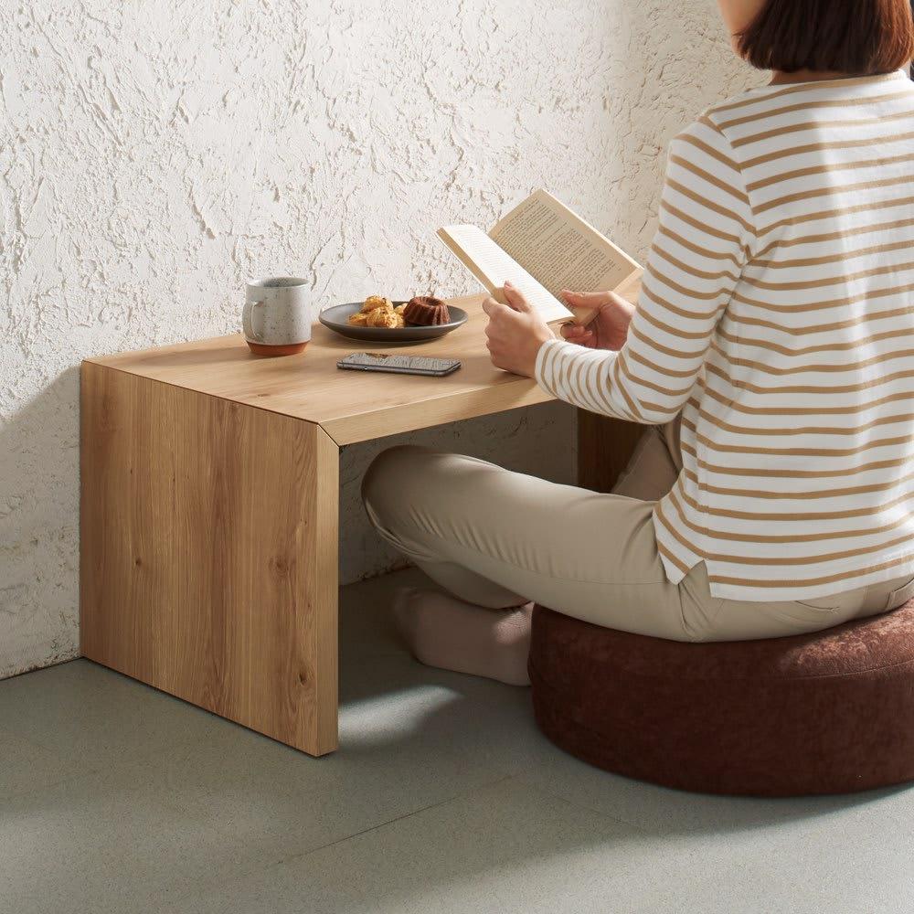 折りたたみできるスマートスタイルテーブル 89×44cm コーディネート例(ウ)ナチュラル(木目)