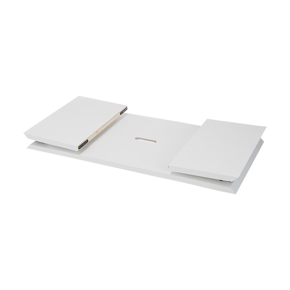 折りたたみできるスマートスタイルテーブル 89×44cm (ア)ホワイト(光沢) 折りたたみ時