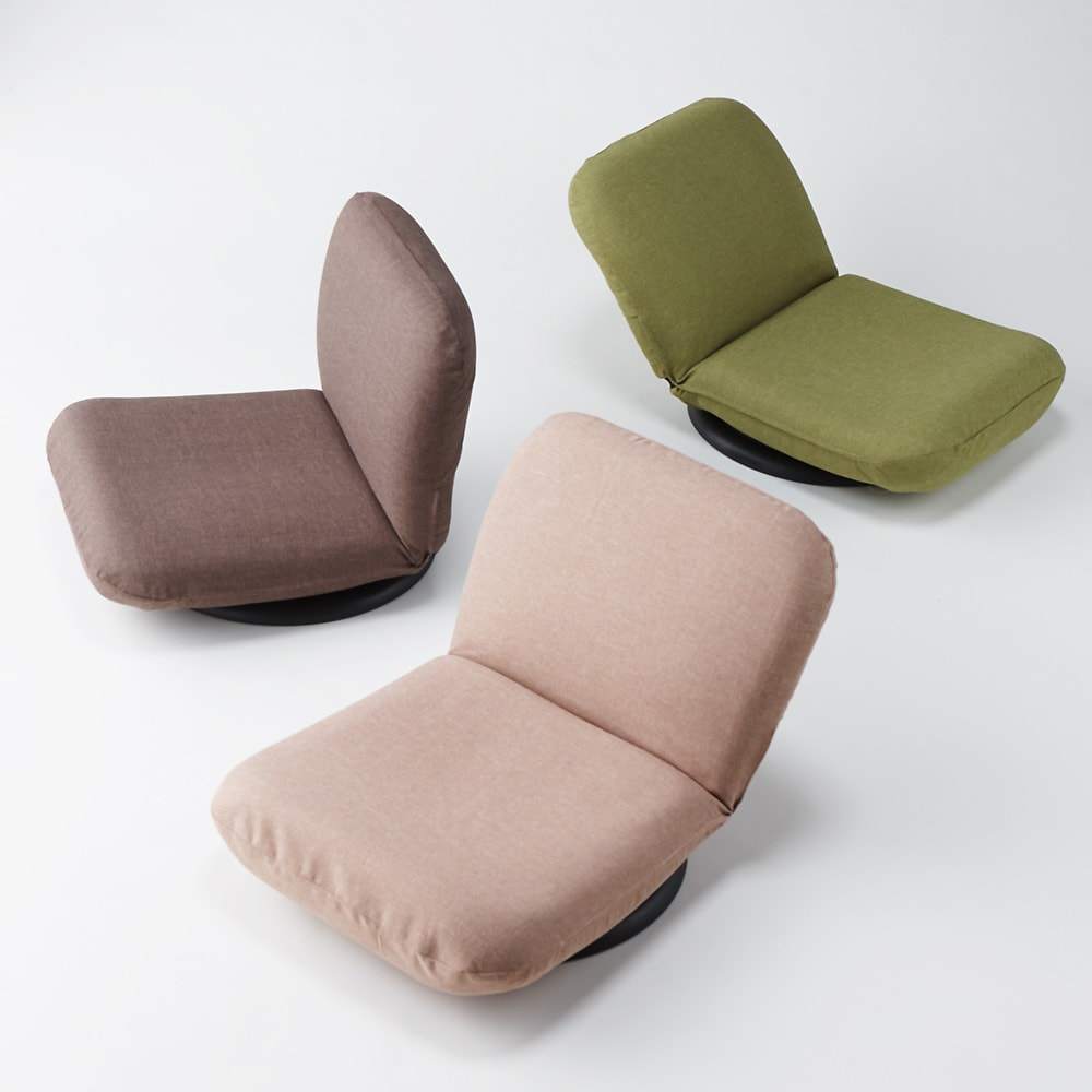 特許を取得した腰に優しい回転座椅子 ロータイプ 美しいフォルムの座椅子です。きれいな3色からお選びください。 写真はカバー(別売り)付き。左からブラウン、ベージュ、グリーン色。