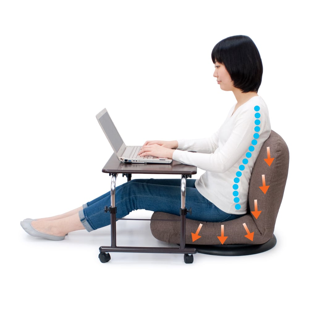 特許を取得した腰に優しい回転座椅子 ロータイプ 長時間座っても疲れにくい体重圧を分散する構造で、床でのテレワークがもっと快適に!