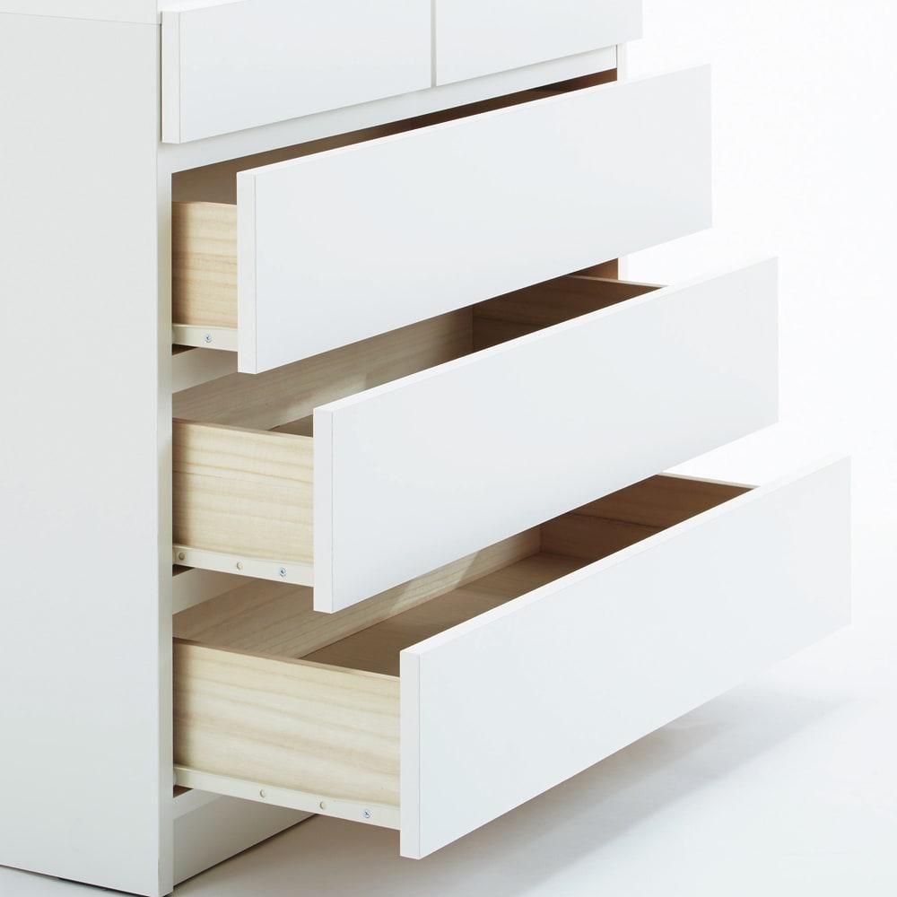 【完成品・国産家具】ベッドルームで大画面シアターシリーズ チェスト 幅80高さ55cm 引き出しは全段レール付きで、たっぷり収納しても開閉がスムーズ。(写真は高さ70cmチェストです。)