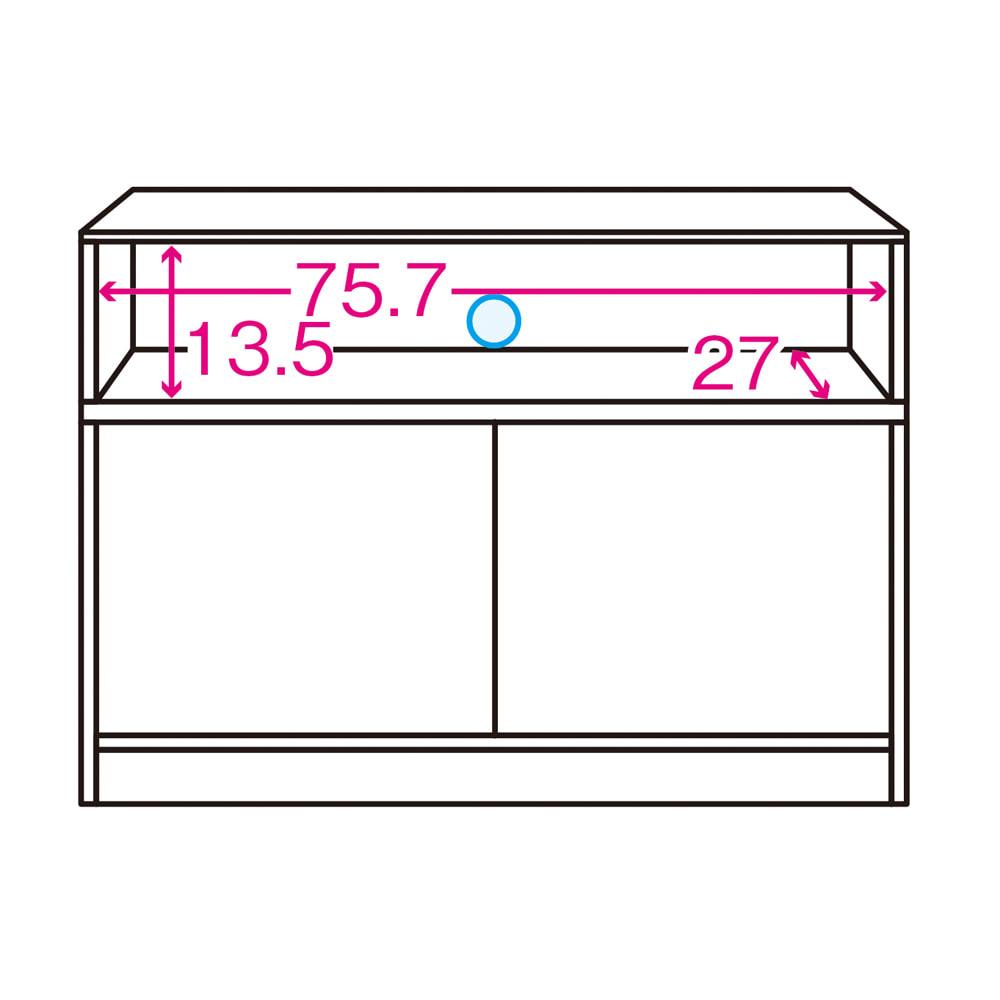 【完成品・国産家具】ベッドルームで大画面シアターシリーズ テレビ台・テレビボード 幅80高さ70cm 内寸図 ※赤文字は内寸(単位:cm)※青色部分はコード穴