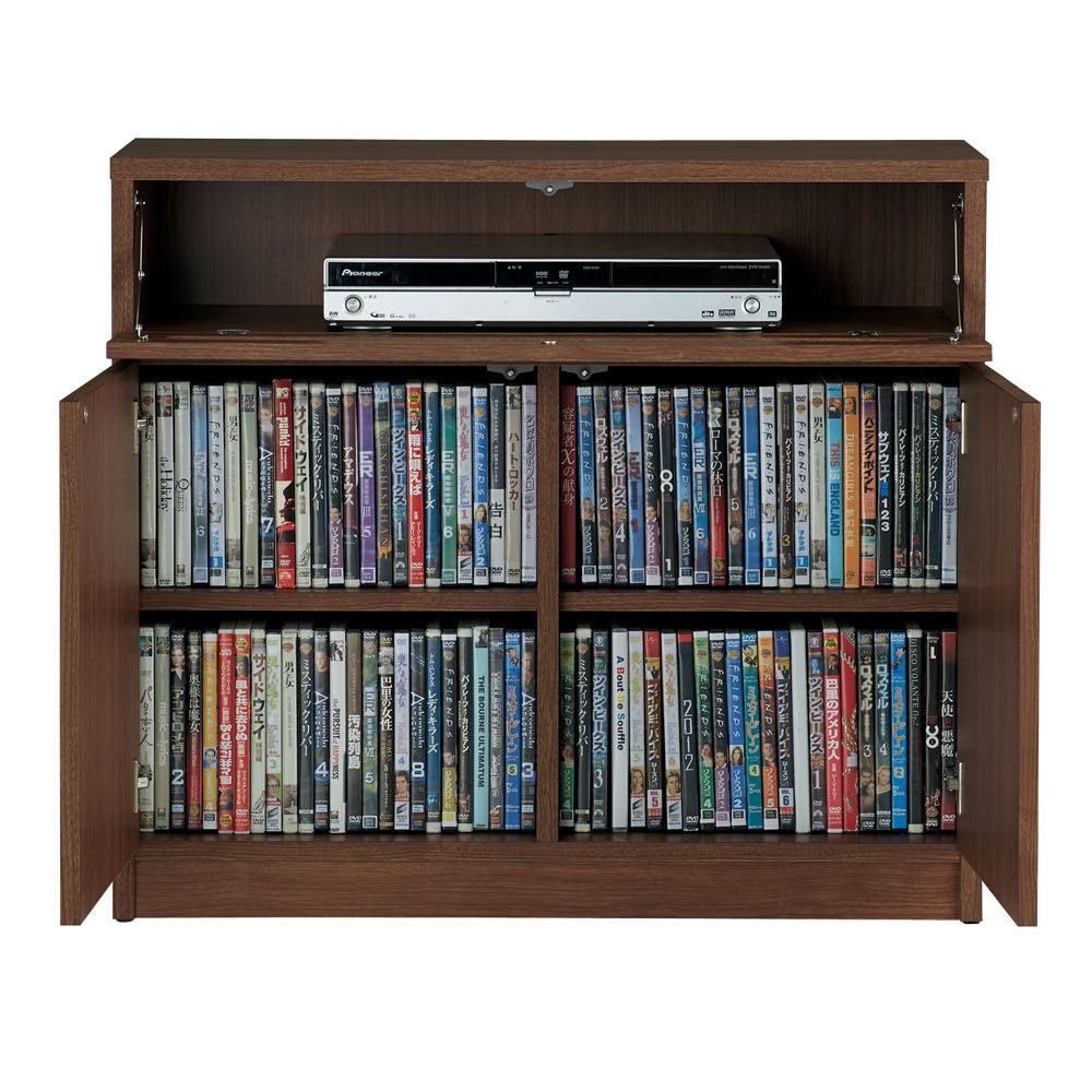 【完成品・国産家具】ベッドルームで大画面シアターシリーズ テレビ台・テレビボード 幅80高さ70cm DVDは背表紙を手前にして約190枚(前後2列)収納できます。