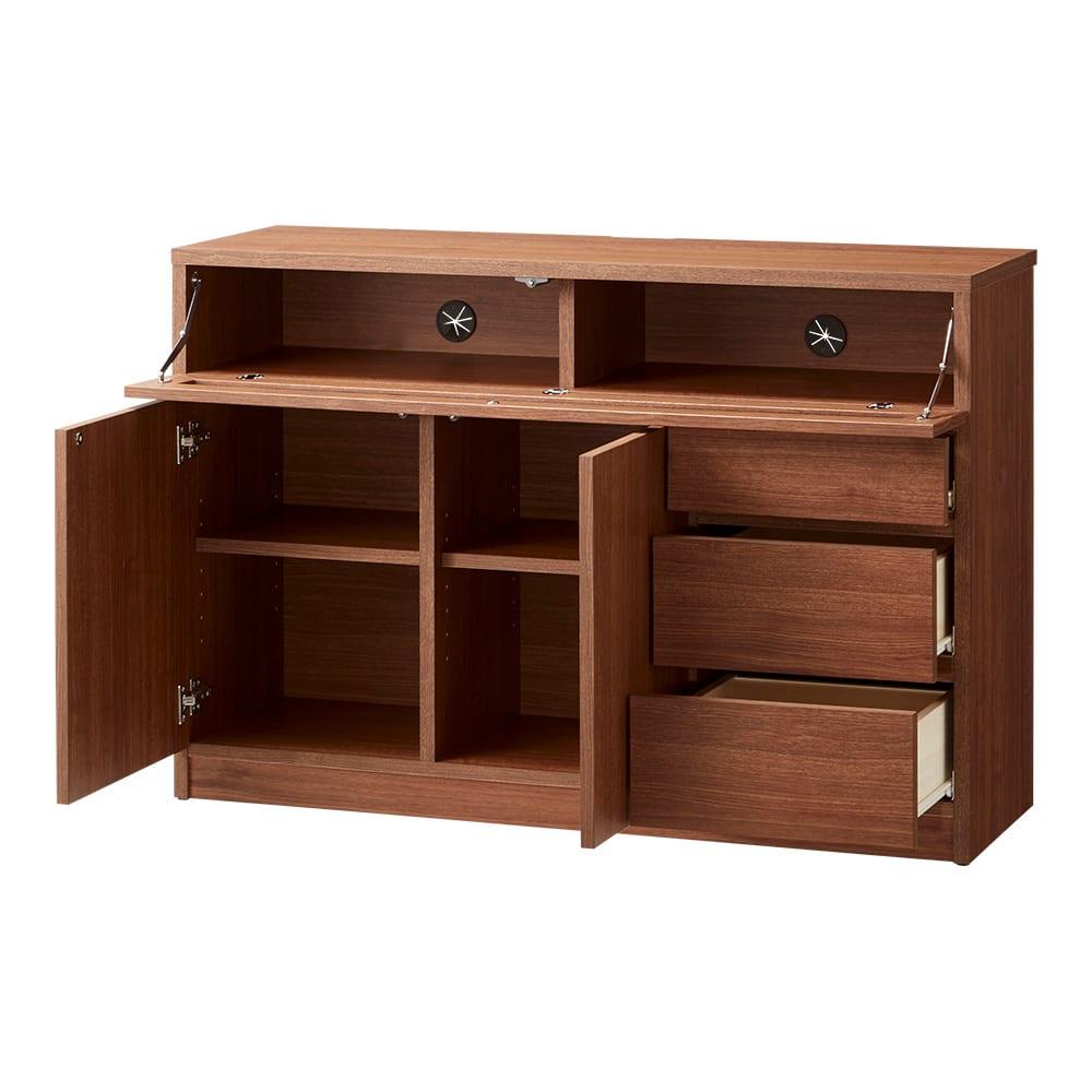 【完成品・国産家具】ベッドルームで大画面シアターシリーズ テレビ台・テレビボード 幅105高さ70cm (ウ)ダークブラウン デッキ収納部(1スペースあたり)の有効内寸は、幅49cm、高さ13.5cm、奥行30cmです。