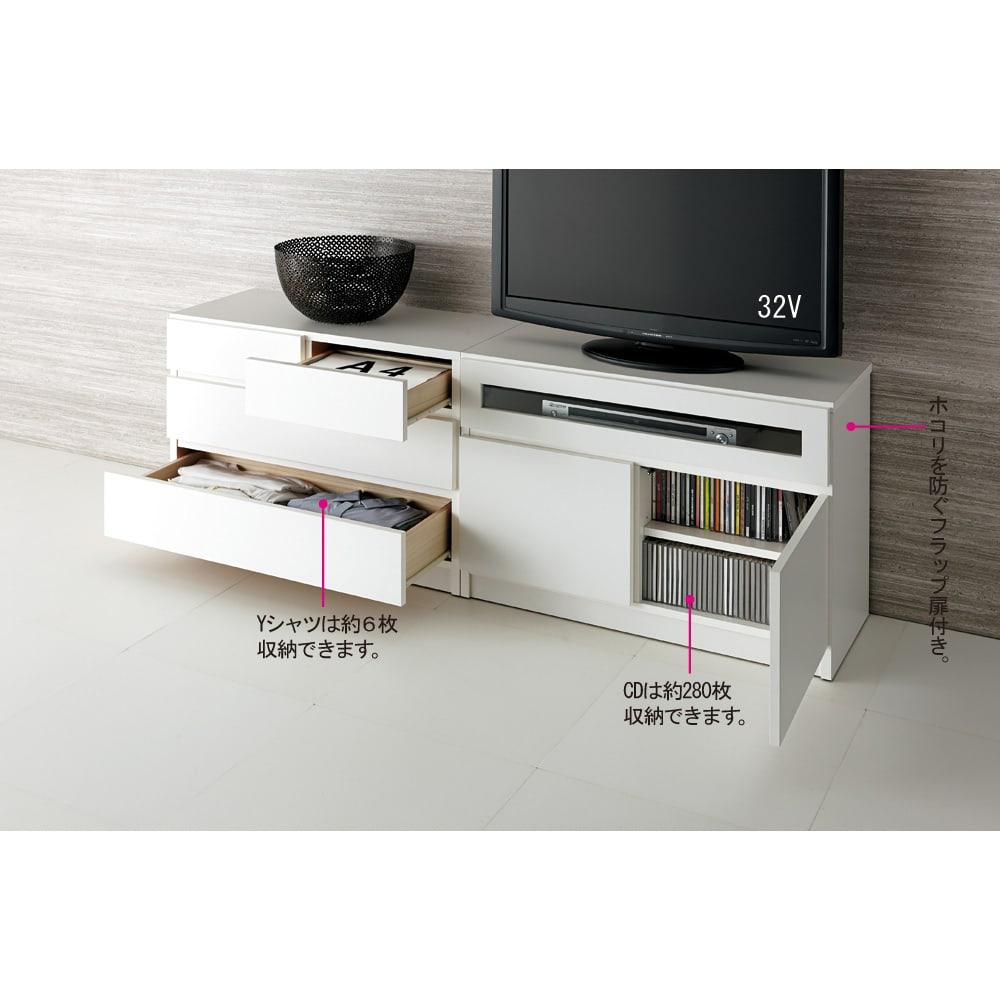 【完成品・国産家具】ベッドルームで大画面シアターシリーズ テレビ台・テレビボード 幅105高さ70cm コーディネート例(ア)ホワイト ※写真のテレビ台は幅80高さ55cmです。