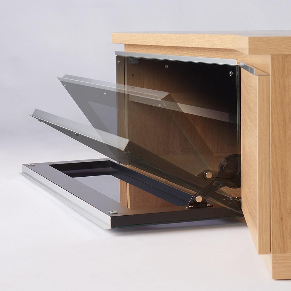 住宅事情を考えた天然木調コーナーテレビ台 右コーナー用 幅165cm ガラス扉はダンパー仕様なので、ゆっくりと開きます。