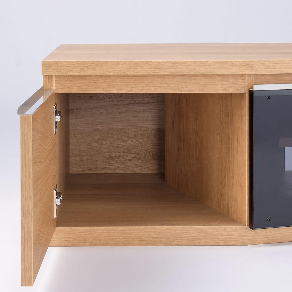 住宅事情を考えた天然木調コーナーテレビ台・テレビボード 左コーナー用 幅123.5cm 扉収納部