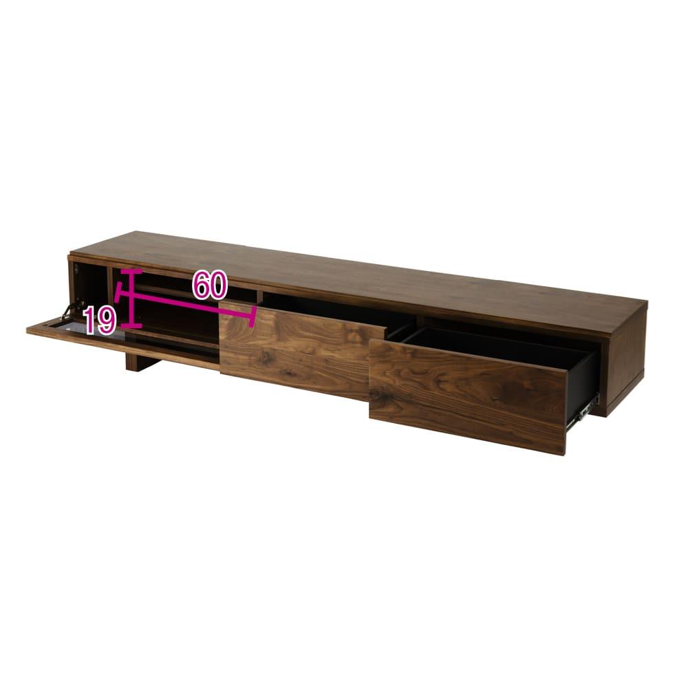大画面対応ウォルナット天然木テレビ台シリーズ テレビ台・テレビボード 幅200cm 対応テレビサイズの目安は80インチまでです。 ※赤文字は内寸(単位:cm)