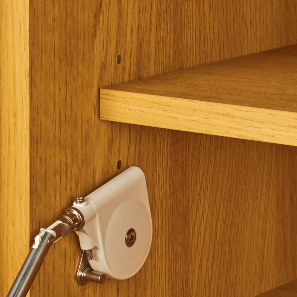 オーク天然木北欧風 キャビネットチェスト・幅80cm 3cm間隔で調整できる可動棚付き。