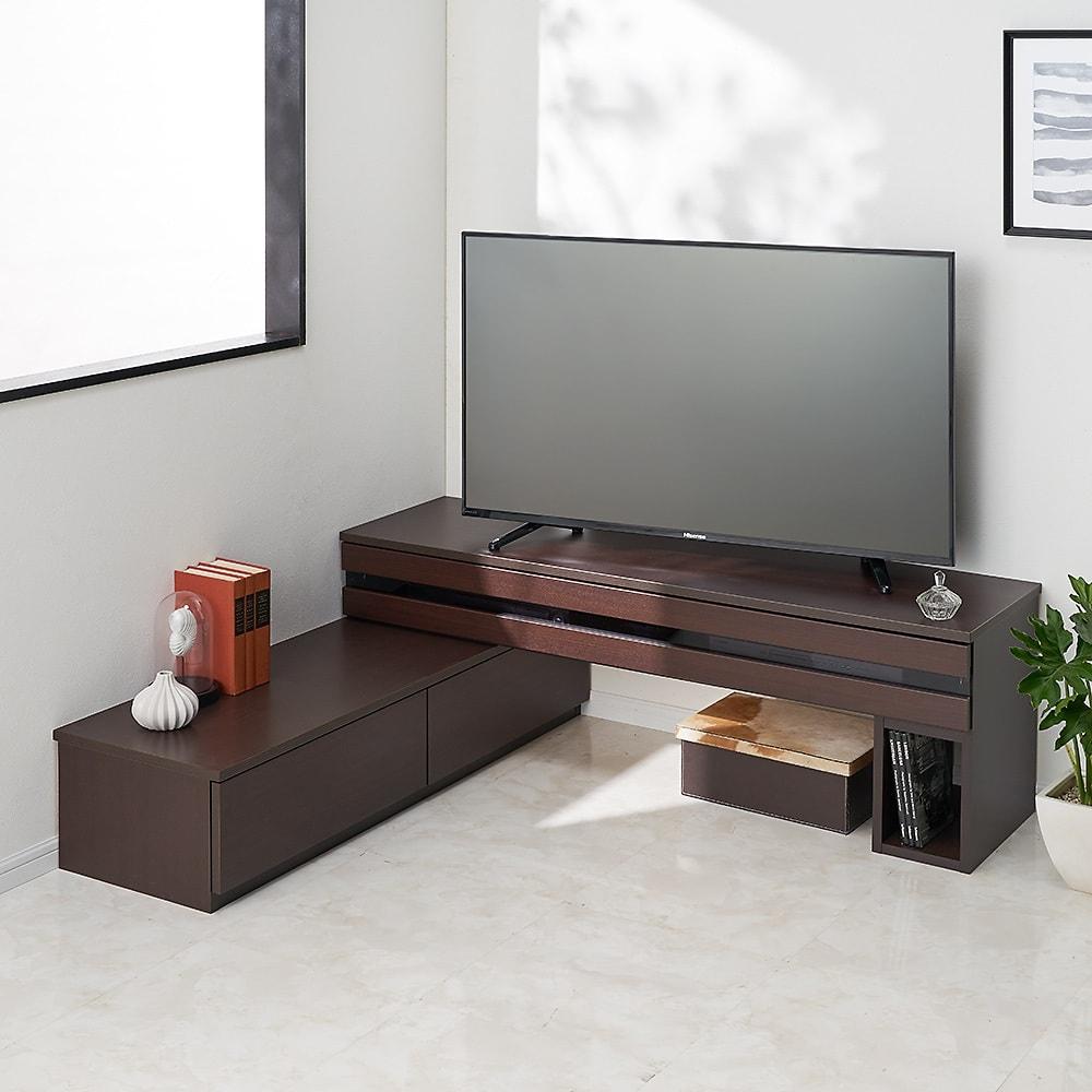 ラインスタイル伸長式テレビ台・テレビボード ロータイプ(高さ48cm) (ウ)ダークブラウン(右タイプ) ※写真は幅150~247cmタイプです。