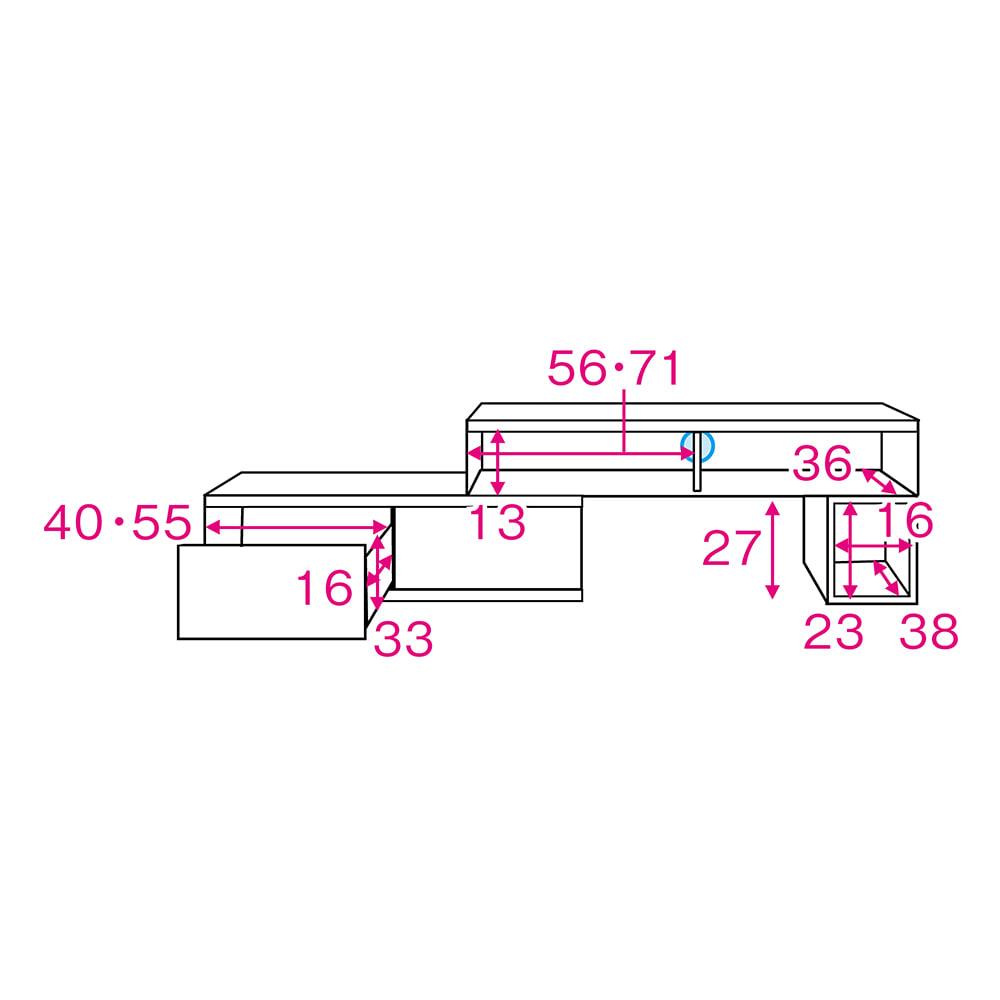 ラインスタイル伸長式テレビ台・テレビボード ロータイプ(高さ48cm) 内寸図 ※赤文字は有効内寸(単位:cm)※青印はコード穴