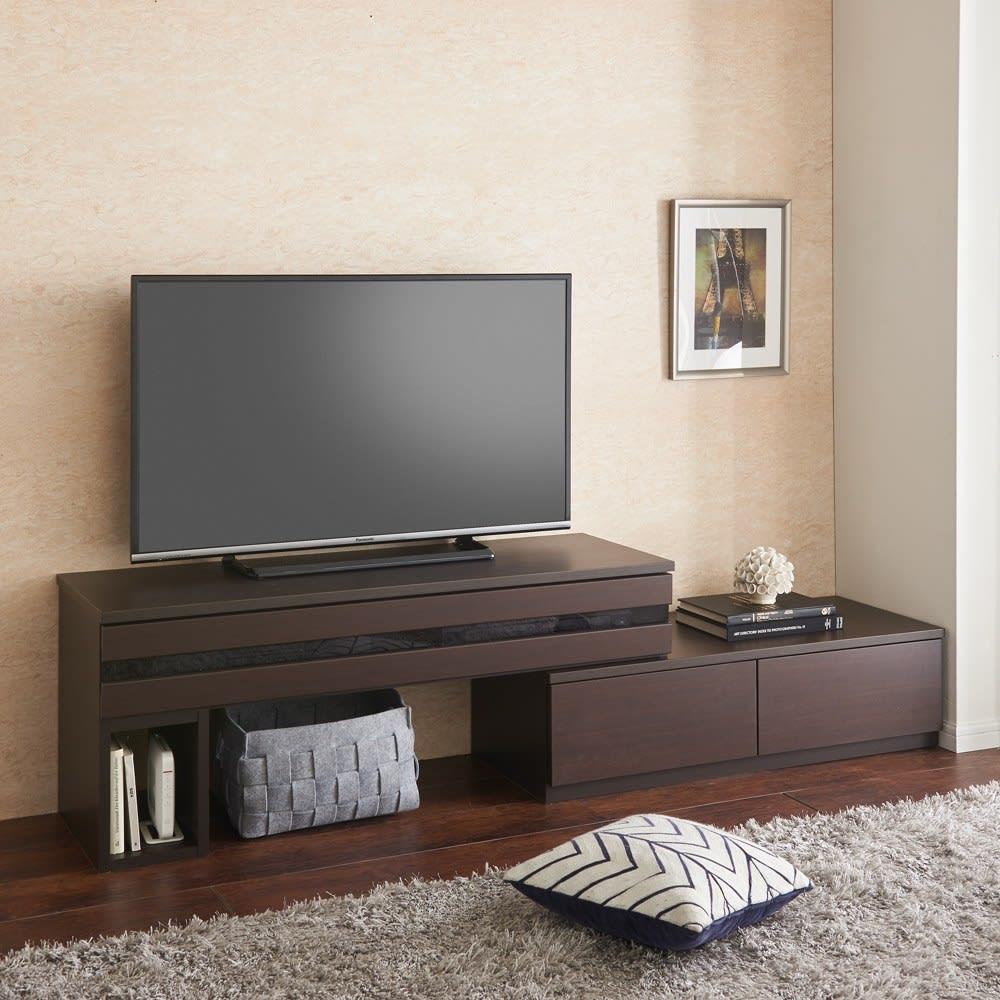 ラインスタイル伸長式テレビ台・テレビボード ロータイプ(高さ48cm) (エ)ダークブラウン(左タイプ) ※写真は幅120~193cmタイプです。