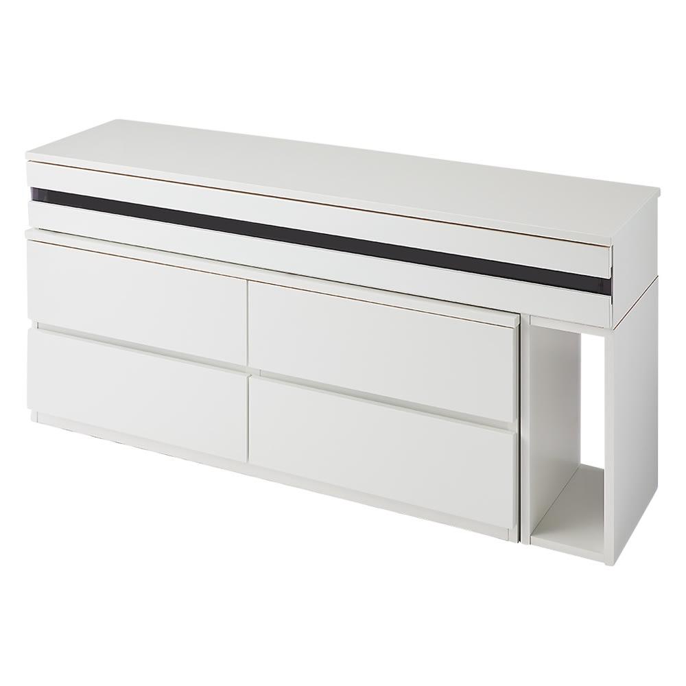 ラインスタイル伸長式テレビ台・テレビボード ハイタイプ(高さ70cm) (ア)ホワイト(右タイプ) ※写真は幅150~247cmタイプです。