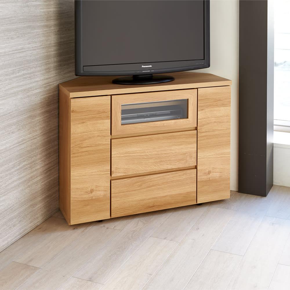 天然木調お掃除がしやすいコーナーテレビ台・テレビボード ハイタイプ 幅90cm (イ)ナチュラル