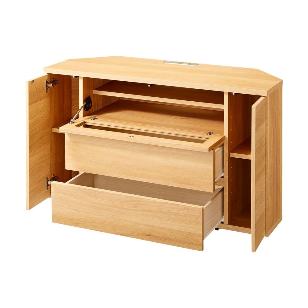 天然木調お掃除がしやすいコーナーテレビ台・テレビボード ハイタイプ 幅120cm (イ)ナチュラル