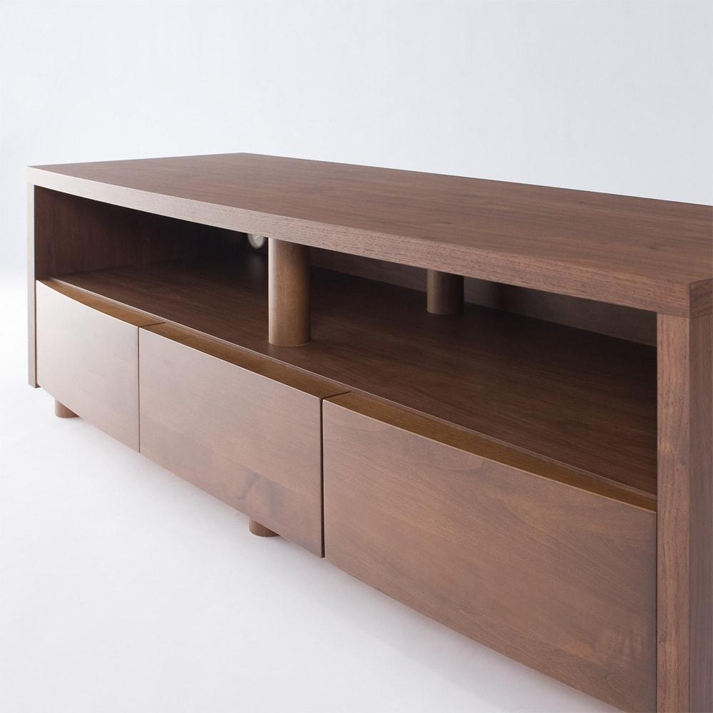 アルダー天然木アールデザインテレビ台・テレビボード 幅124cm (イ)ダークブラウン