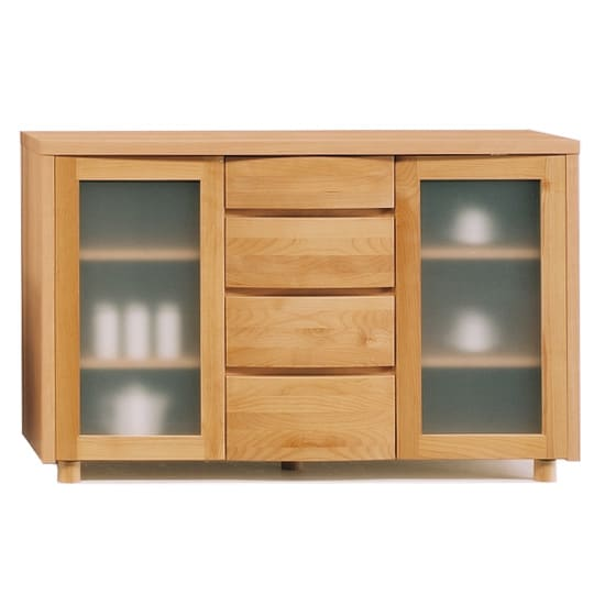 アルダー天然木アールデザインシリーズ サイドボード  幅124高さ79cm (ア)ライトブラウン