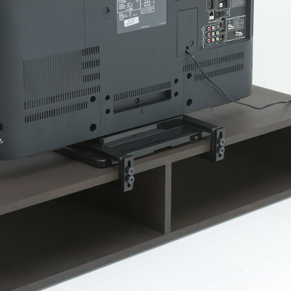 曲面加工のラウンドシェルフシリーズ テレビ台・テレビボード 1段3連 幅165cm高さ34cm 脚付きタイプ 背面構造