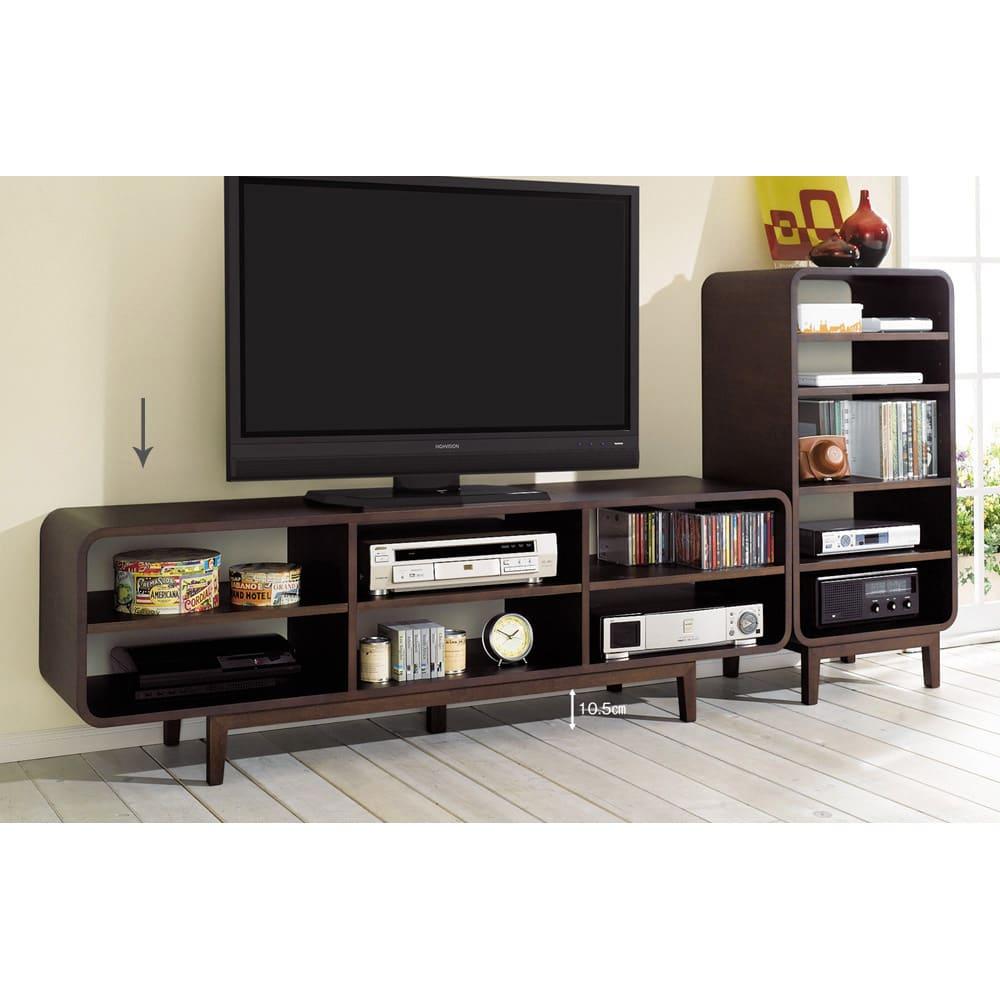 曲面加工のラウンドシェルフシリーズ テレビ台・テレビボード 2段3連 幅165cm 高さ52cm脚付きタイプ オープンタイプなのでリモコン・ボタン操作も楽々。