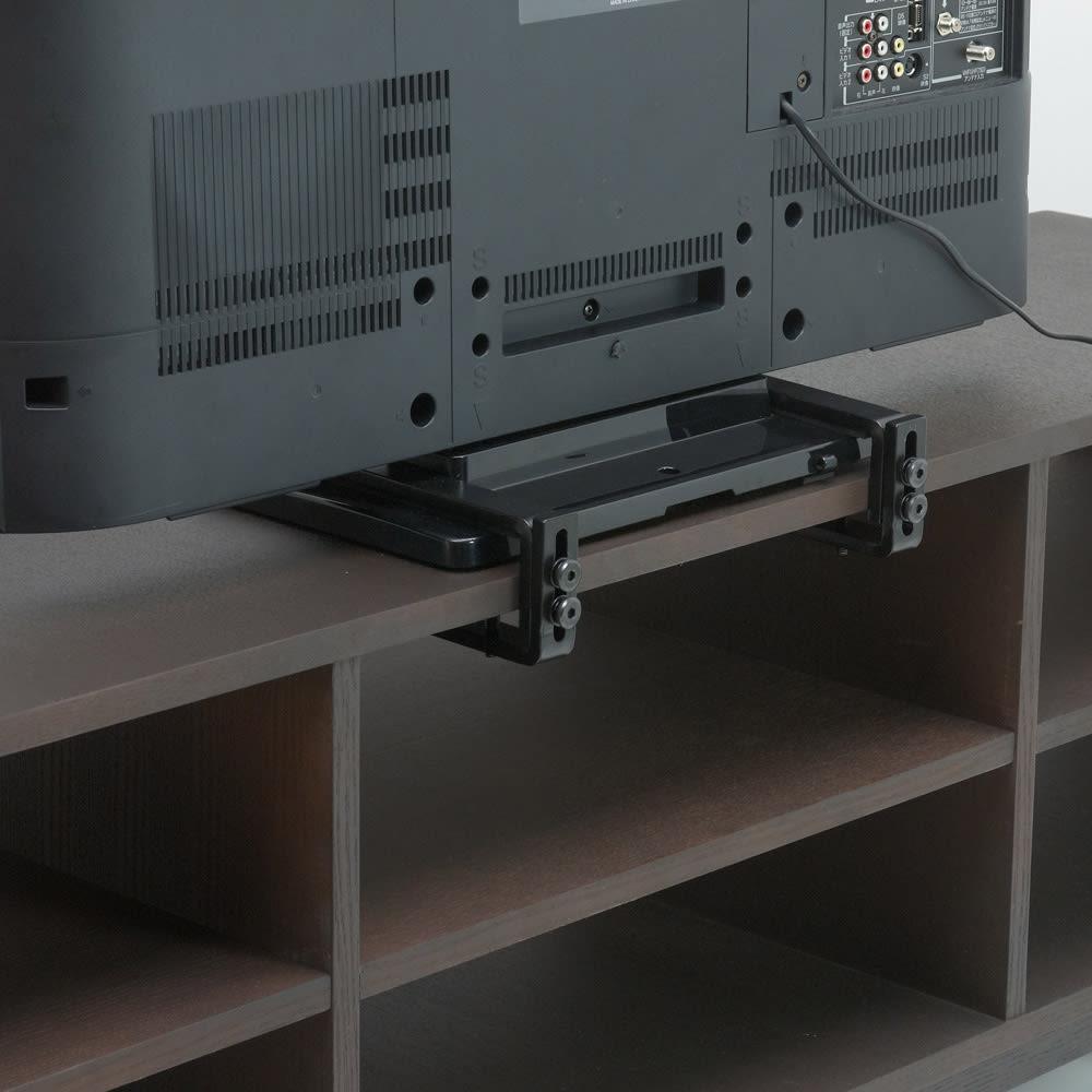 曲面加工のラウンドシェルフシリーズ テレビ台・テレビボード 2段3連 幅165cm 高さ52cm脚付きタイプ 背面構造