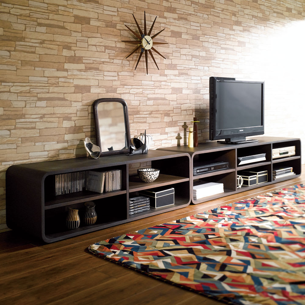 曲面加工のラウンドシェルフシリーズ テレビ台・テレビボード 2段2連 幅120cm高さ39cm 脚なしタイプ お届けは左側の2段2連タイプ。 並べて使えばサイドボードのように使えます。