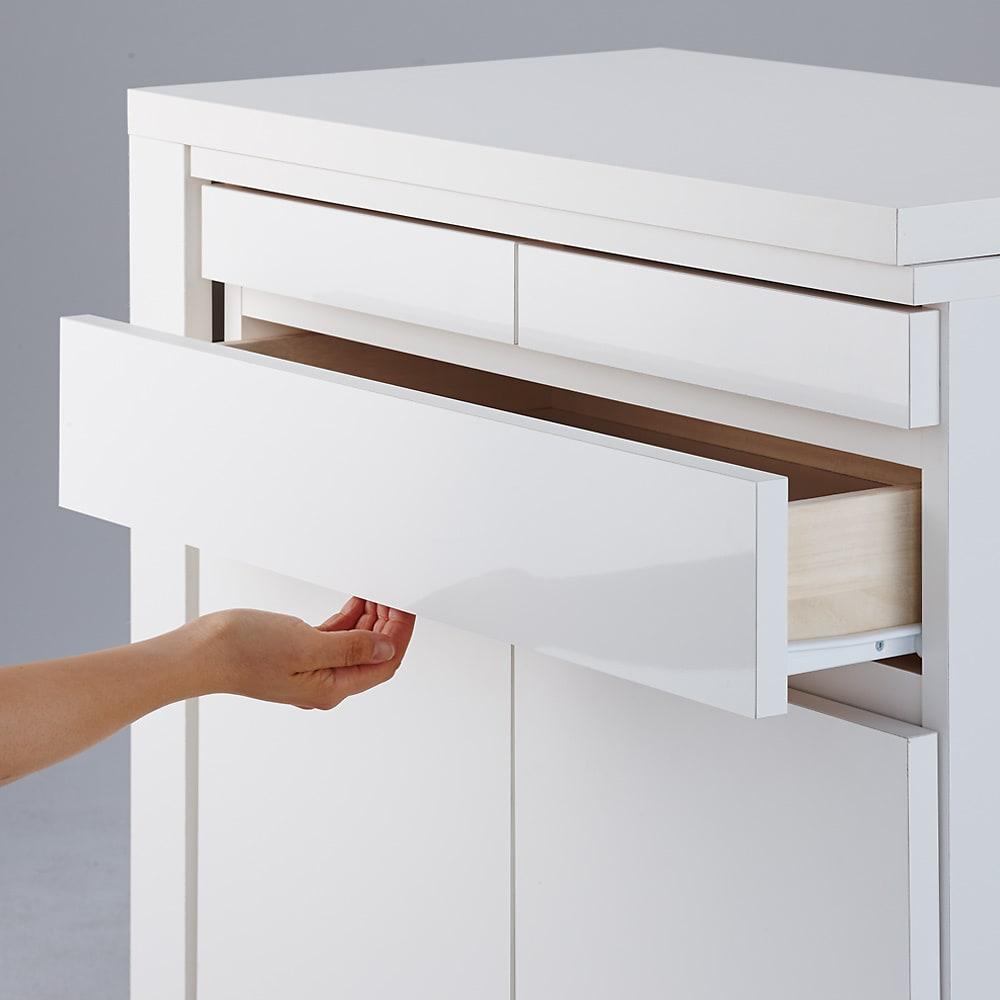 伸長式デスク&キャビネット 幅112~192cm 引き出しは取っ手のない スッキリとしたデザイン