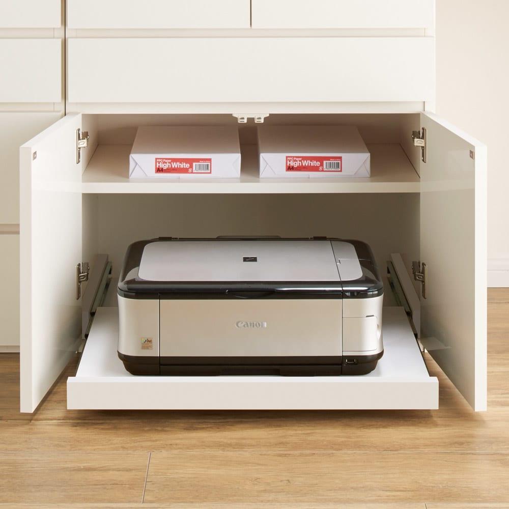 伸長式デスク&キャビネット 幅112~192cm スライドテーブル(別売り)を扉内に設置してプリンター台に。