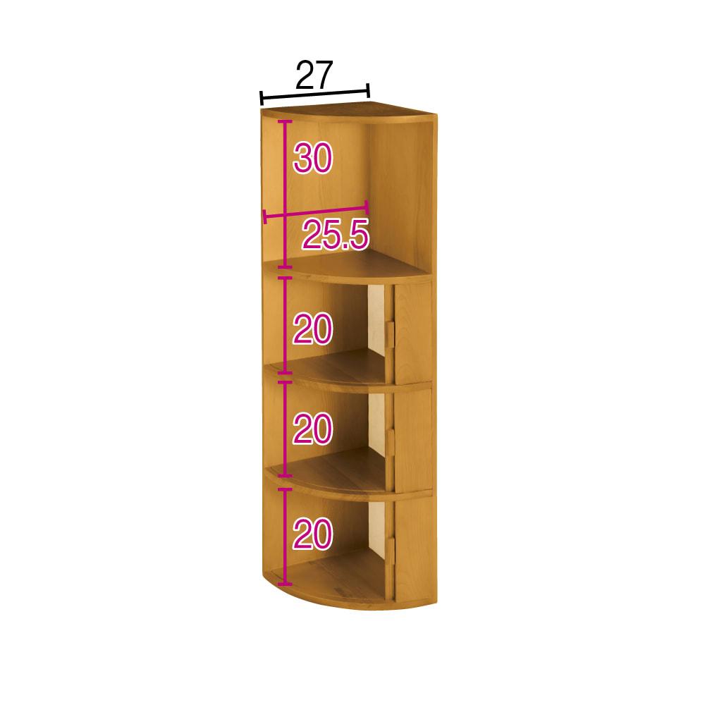 収納物を可愛く隠せる北欧風コーナーラック 3段+オープン・高さ97cm (イ)ブラウン ※赤文字は内寸(単位:cm)