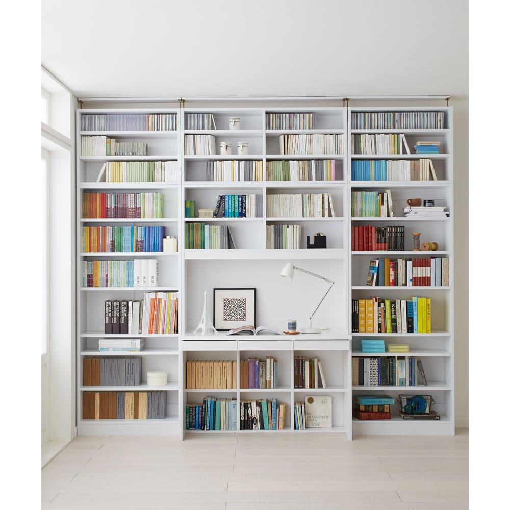 本好きの為のデスクシリーズ 上置き・デスク用 幅90cm 使用イメージ(ア)ホワイト ※写真は左からシェルフ幅75、デスク幅120、シェルフ幅75に各サイズ上置きを組み合わせております。こちらは上置きのみのお届けとなります。
